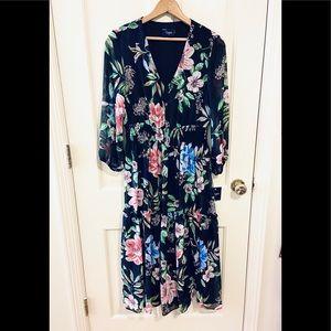 NWT Taylor black floral tiered chiffon maxi dress